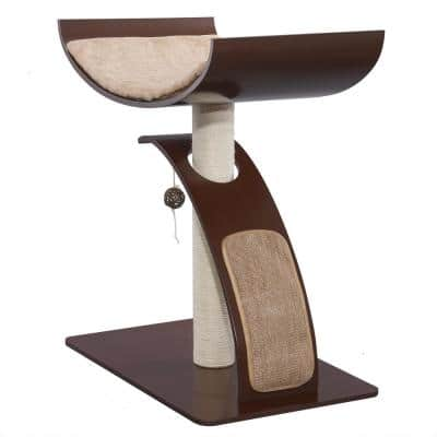 Brown Modern Multi-Play Cat Toy Stand