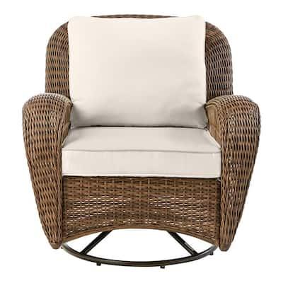 Beacon Park Brown Wicker Outdoor Patio Swivel Lounge Chair with CushionGuard Almond Tan Cushions