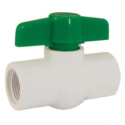 PVC 1 in. x 1 in. Straight Ball Valve with Threaded Ends
