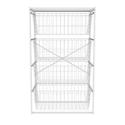 35.94 in. H x 21.72 in. W White Wire 4-Drawer Closet Drawer Organizer