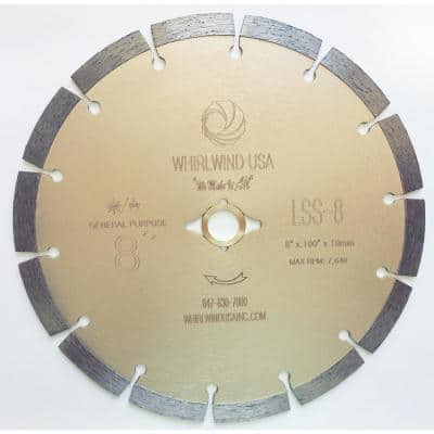 8 in. 14-Teeth Segmented Diamond Saw Blade for Dry or Wet Cutting Concrete Stone Brick and Masonry