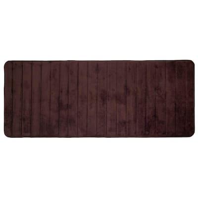 Chocolate 24.25 in. x 60 in. Memory Foam Striped Extra Long Bath Mat
