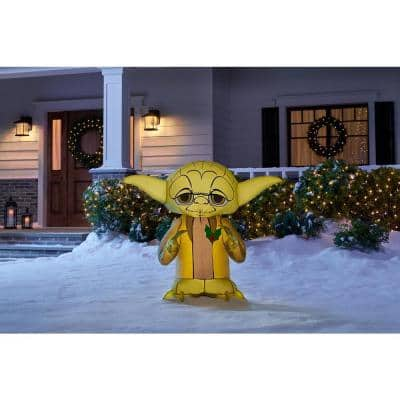3 ft. Inflatable Yoda with Holly Berry
