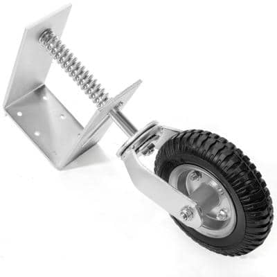 8 in. Silver Heavy-Duty Spring-Loaded Gate Caster with Adjustable Bracket and 200 lbs. Load Rating