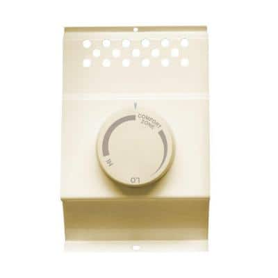 Single-Pole Electric Baseboard-Mount Mechanical Thermostat in Almond