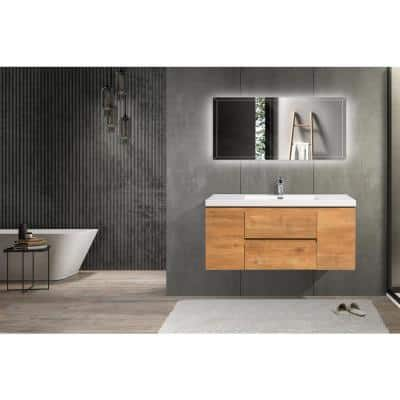 48 in. W x 19.5 in. D x 20.5 in. H Bathroom Vanity Side Cabinet in Oak with White Top and Basin