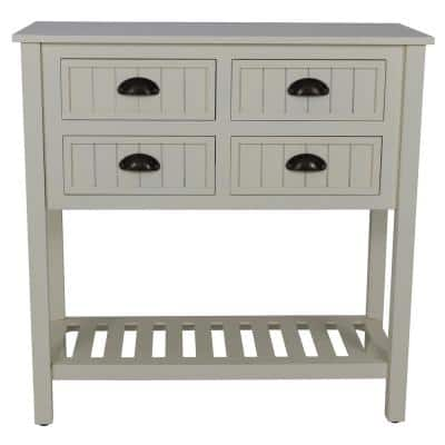 Bailey 32 in. Antique White Standard Rectangle Wood Console Table with Drawers