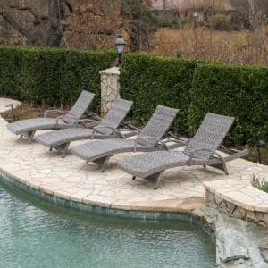 Crete Grey Wicker Outdoor Chaise Lounge (Set of 4)