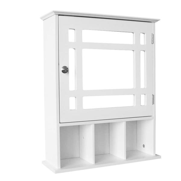 Wellfor 20 In W X 24 In H X 6 In D Bathroom Storage Wall Cabinet With 1 Glass Doors And Adjustable Shelf In White Ba Hwy 7514wh The Home Depot
