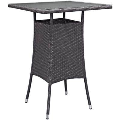 Convene Small Patio Wicker Bar Height Outdoor Dining Table in Espresso