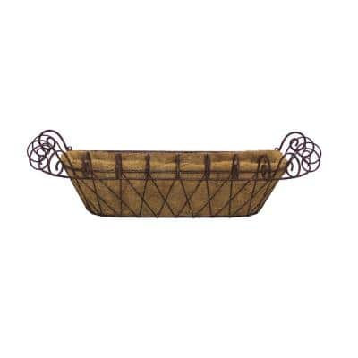 31 in. x 11 in. Brown Metal Window Box with Coco Liner