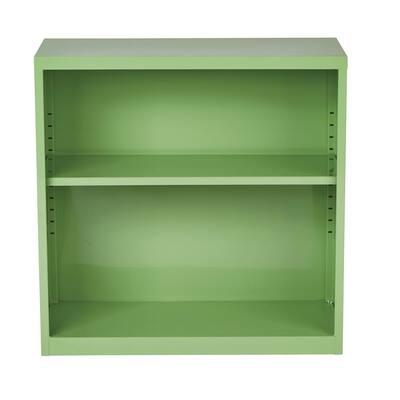 28 in. Green Metal 2-shelf Standard Bookcase with Adjustable Shelves