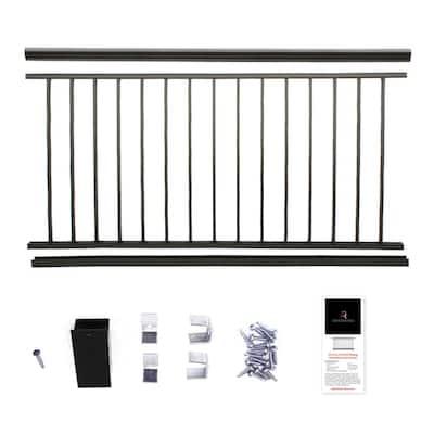 42 in. x 6 ft. Black Powder Coated Aluminum Preassembled Deck Railing