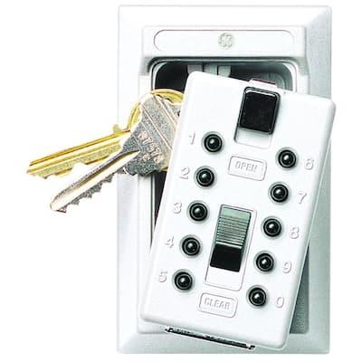 Mounted 5-Key Lock Box with Pushbutton Combination Lock, White