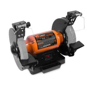 8 in. 4.8 Amp Single Speed Bench Grinder with LED Work Lights