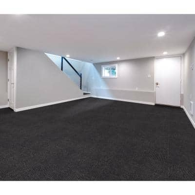 Picket Sky Grey Texture Commercial 24 in. x 24 in. Peel and Stick Carpet Tile (10 Tiles/Case)