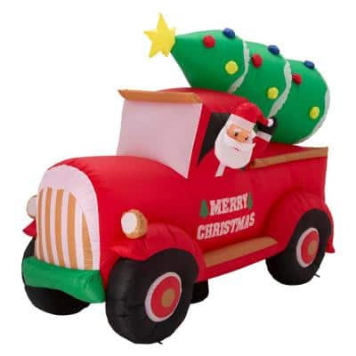 7 ft. Santa Claus On Pick Up Truck Inflatable Decor