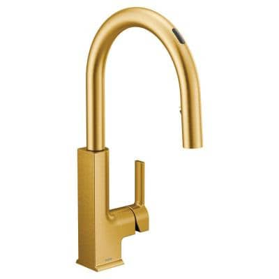 U STo Single-Handle Pull-Down Sprayer Smart Kitchen Faucet with Voice Control and Power Clean in Brushed Gold