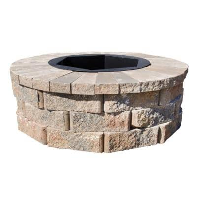 40 in. W x 14 in. H Rockwall Round Fire Pit Kit - Palomino