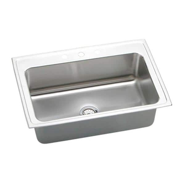 Elkay Lustertone Drop In Stainless Steel 33 In 1 Hole Single Bowl Kitchen Sink Dlrs3322101 The Home Depot