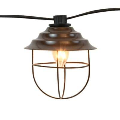 Outdoor 20 ft. Plug-in Electric Edison Bulb Cafe String Lights with 10 Brown Metal Shades