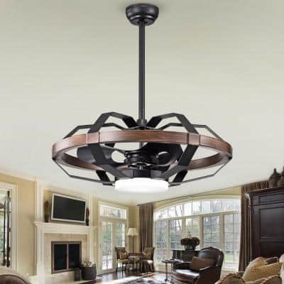 Bornice 32 in. Indoor Black Fandelier Remote Controlled Ceiling Fan with Light Kit