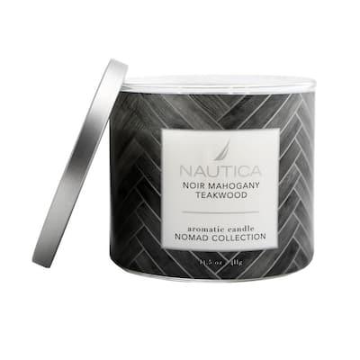 14.5 oz. Noir Mahogany Teakwood Multi-Colored Linen 3-Wick Jar Candle