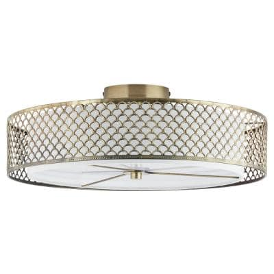 Gianna 18.25 in. Art Deco 2-Light Brushed Gold Semi-Flush Mount Hanging Lamp