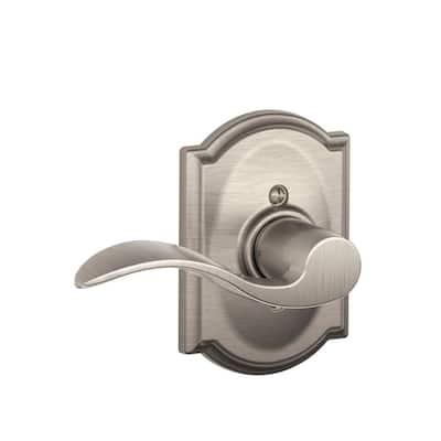 Accent Series Satin Nickel Left Handed Dummy Door Lever with Camelot Trim