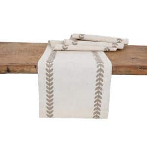15 in. x 90 in. Cute Leaves Crewel Embroidered Table Runner, Taupe/Natural