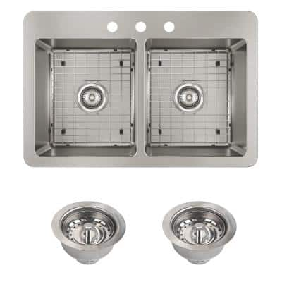 Avenue Drop-in/Undermount Stainless Steel 33 in. 50/50 Double Bowl Kitchen Sink with Bottom Grid and Drains