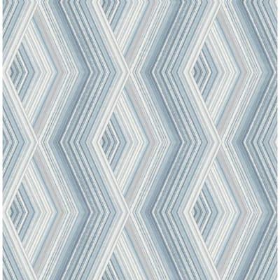 Aura Blue Geometric 20.5 in. x 33 ft. Unpasted Peelable Paper Wallaper