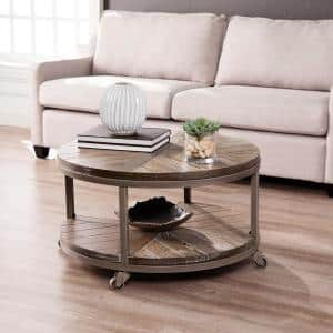 Stilson 32 in. Distressed Gray/White-Limed Burnt Oak Medium Round Wood Coffee Table with Casters