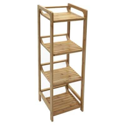 4-Tier Bamboo Shelving Unit (12 in. W x 41 in. H x 12 in. D)