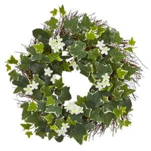 Indoor 20 in. Variegated Sage Ivy and Stephanotis Artificial Wreath