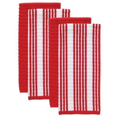 T-fal Red Solid and Stripe Cotton Waffle Terry Kitchen Towel (Set of 4)