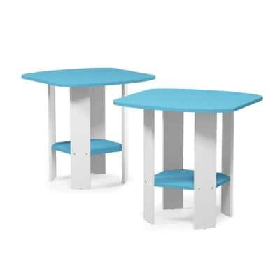 Simple Design 19.6 in. Light Blue End Table (Set of 2)