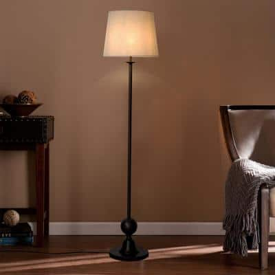 66.5 in. Brown Outdoor Floor Lamp with White Shade
