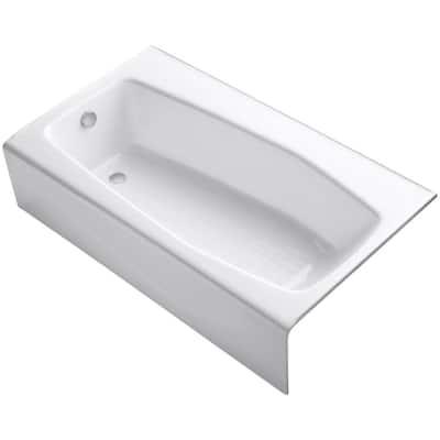Villager 5 ft. Left Drain Rectangular Alcove Soaking Tub in White