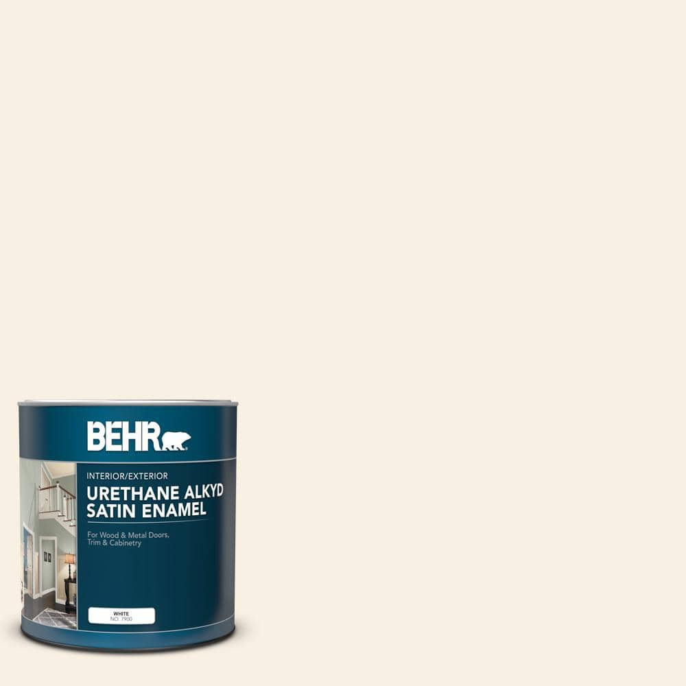 Behr 1 Qt W D 710 Creamy White Satin Enamel Urethane Alkyd Interior Exterior Paint 790004 The Home Depot