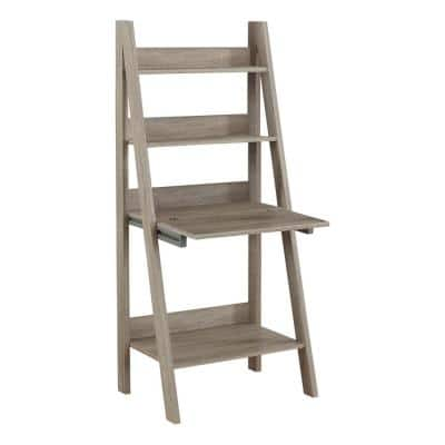 26 in. Rectangular Dark Taupe Ladder Desk with Open Storage