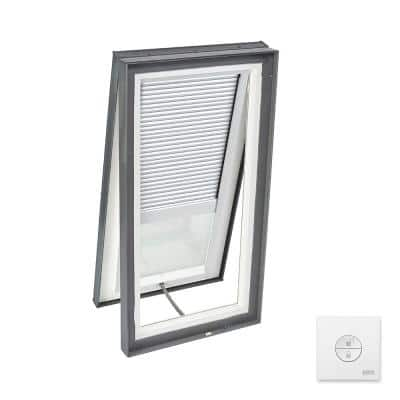 22-1/2 in. x 46-1/2 in. Solar Powered Venting Curb Mount Skylight w/ Laminated Low-E3 Glass & White Room Darkening Blind
