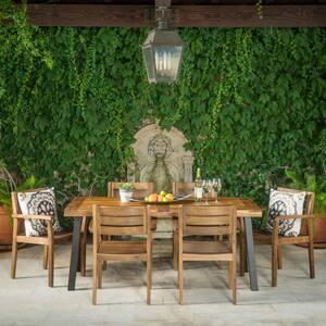 Veronica Teak Brown Finish 7-Piece Wood Rectangular Outdoor Dining Set