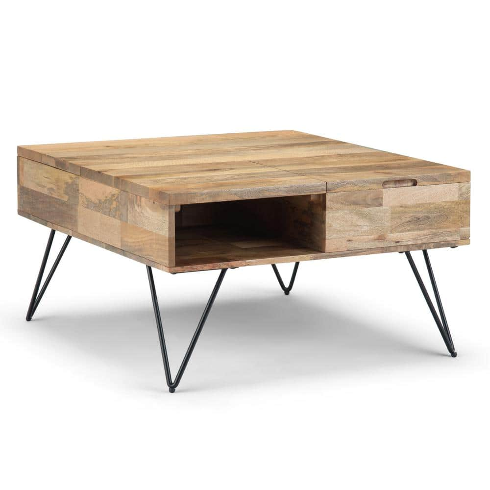 Simpli Home Hunter 33 In Natural Medium Square Wood Coffee Table With Lift Top Axchun 04 The Home Depot