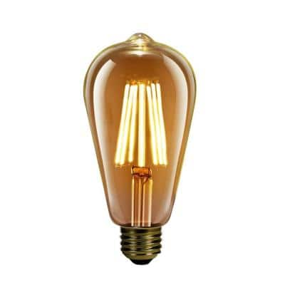 60-Watt Equivalent ST19 Dimmable LED Amber Glass Vintage Edison Light Bulb With Vertical Filament Warm White