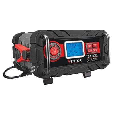 12-Volt Automotive Portable Car Battery Charger with 50 Amp Engine Start and Alternator Check
