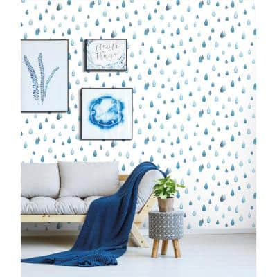 Clara Jean Raindrops Blue and White Peel and Stick Wallpaper (Covers 28.29 sq. ft.)