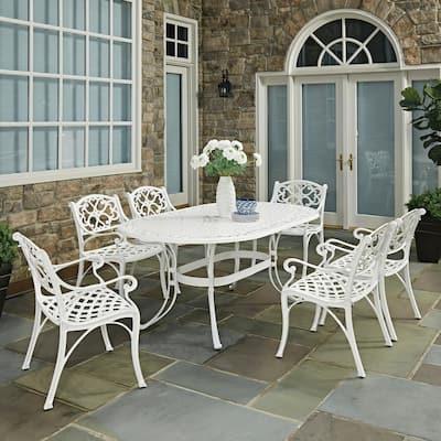 Sanibel White 7-Piece Cast Aluminum Outdoor Dining Set
