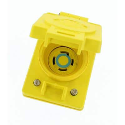 30 Amp 250-Volt 3-Phase Wetguard Flush Mounting Locking Grounding Outlet with Cover, Yellow