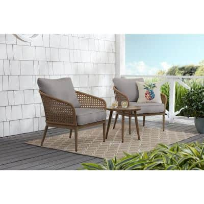 Coral Vista 3-Piece Brown Wicker Outdoor Patio Bistro Set with CushionGuard Stone Gray Cushions